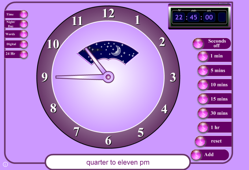 interactive clock game